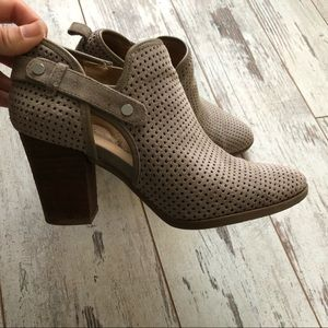 Franco Sarto Gray Suede Perforated Booties